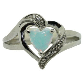 Sterling Silver Created Opal and CZ Heart Ring (Size 7)