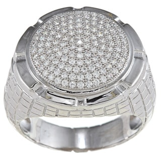 La Preciosa Sterling Silver Men's Cubic Zirconia Pebblestone Ring