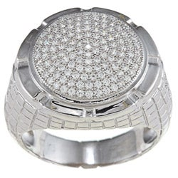 La Preciosa Sterling Silver Men's Cubic Zirconia Pebblestone Ring