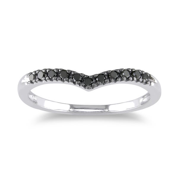 Haylee Jewels 10k White Gold 1/6ct TDW Black Diamond Chevron Anniversary Band
