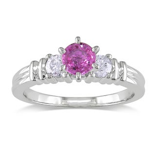 Miadora 14k White Gold Pink Sapphire and 1/4ct TDW Diamond Engagement Ring (G-H, I1-I2)