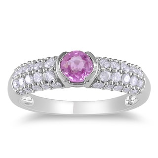 Miadora 14k White Gold Pink Sapphire and 1/2ct TDW Diamond Engagement Ring (H-I, I2-I3)