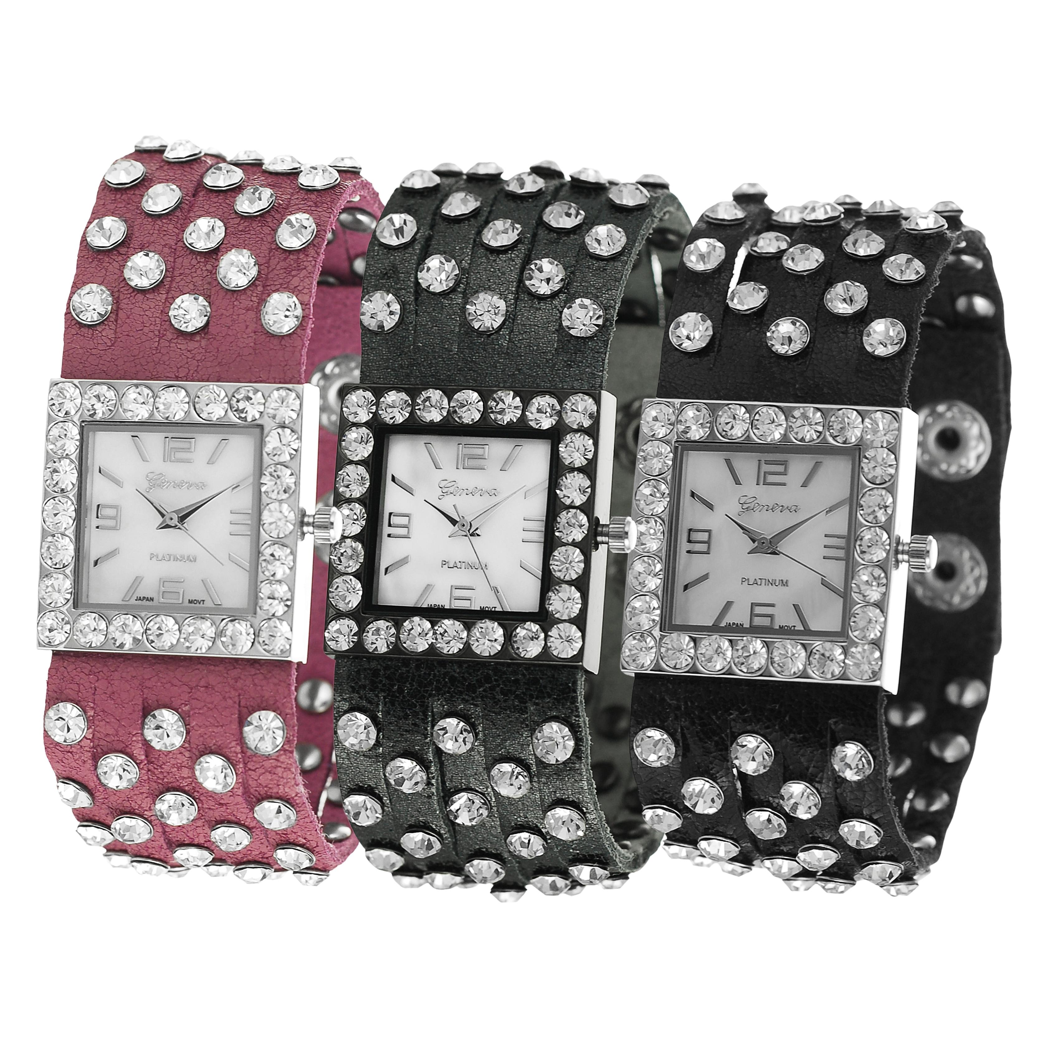 Geneva Platinum Women's Simulated Leather Rhinestone Studded Watch