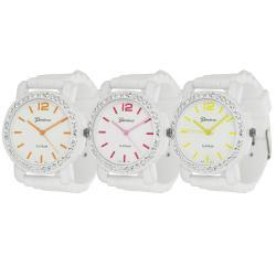Geneva Platinum Neon Women's Rhinestone-Accented Silicone Watch