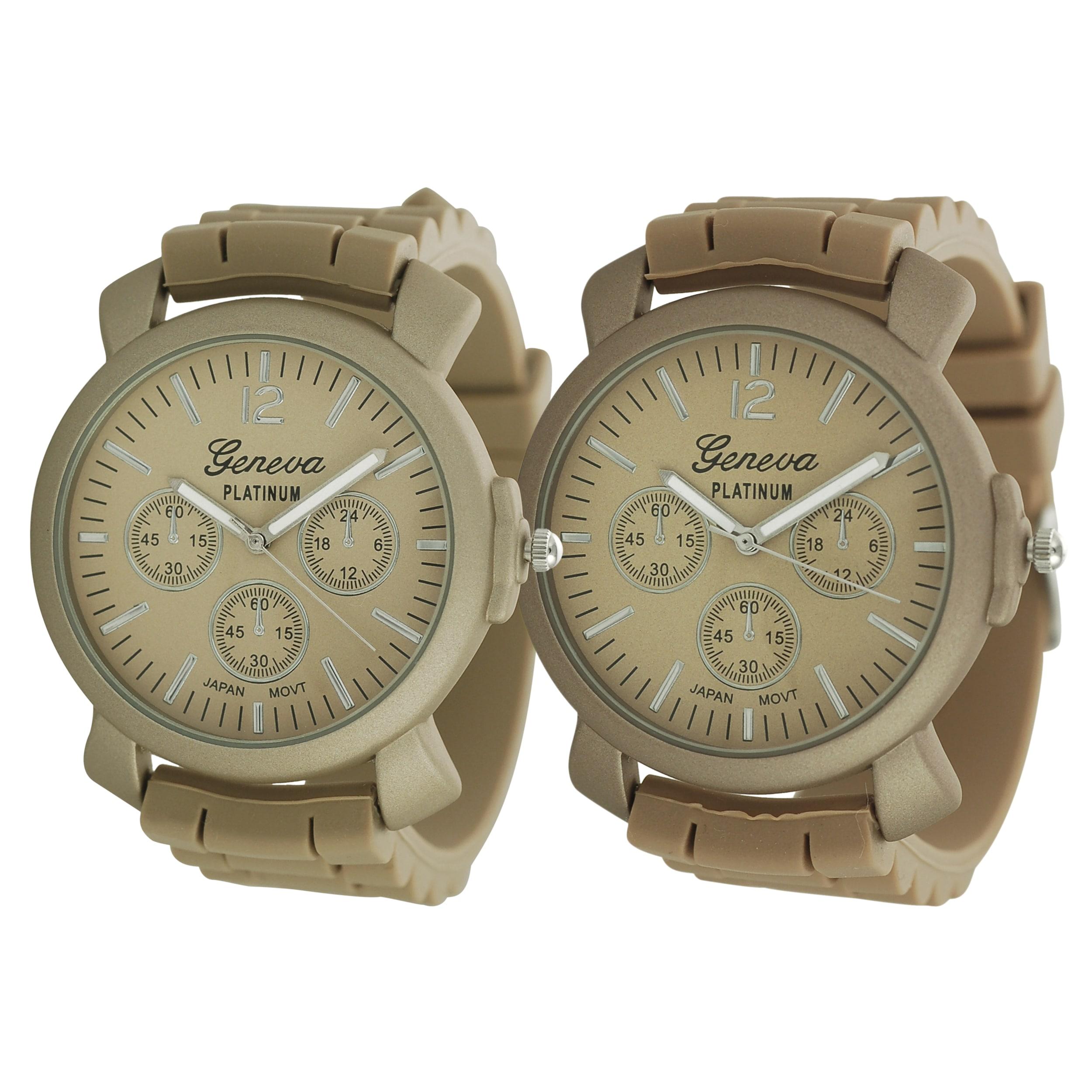 Geneva Platinum Men's Chronograph-Style Dusty Rose Silicone Watch
