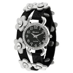 Geneva Platinum Women's Rhinestone-accented Flower Wrap-around Watch