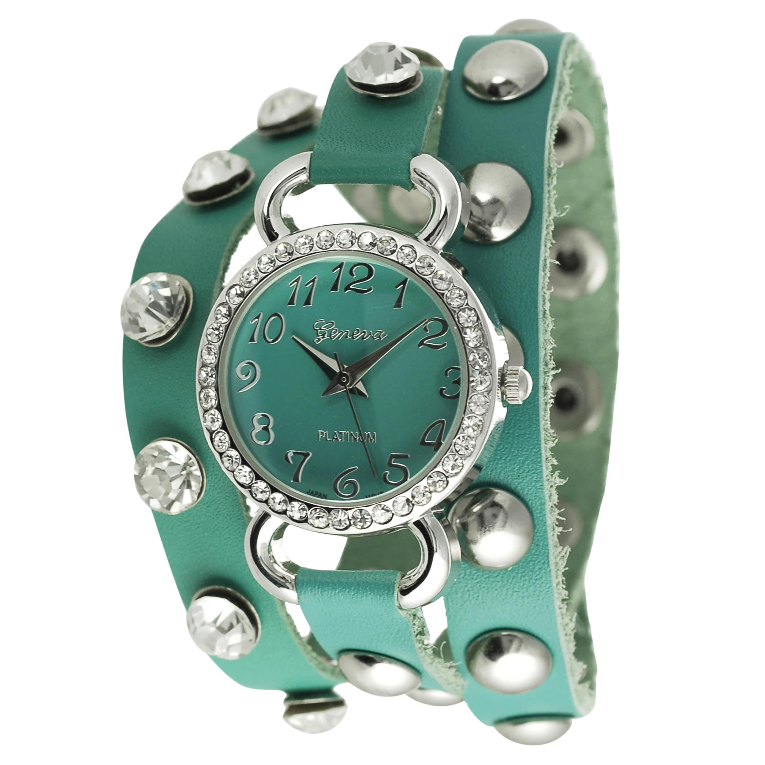 Geneva Platinum Women's Rhinestone Studded Wrap-around Watch