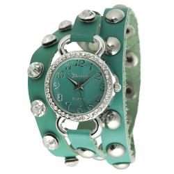 Geneva Platinum Women's Rhinestone Studded Wrap-around Watch