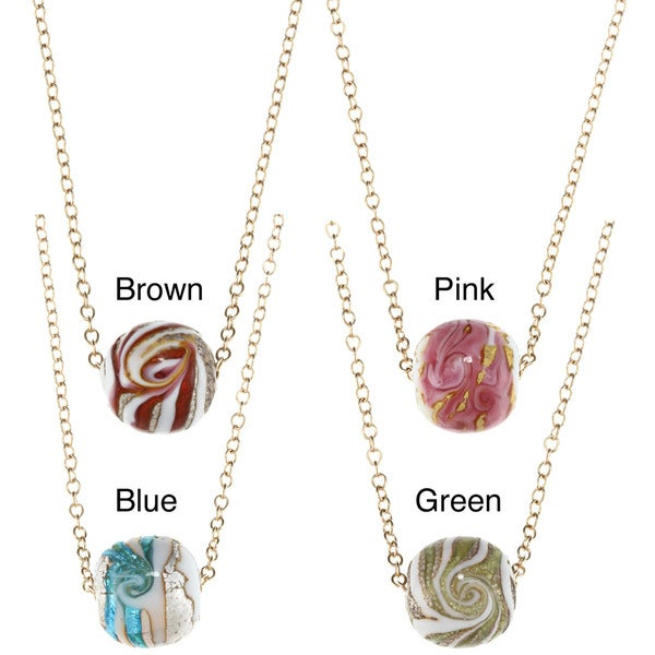 Charming Life 14k Goldfill Round Ceramic Swirl Bead Necklace