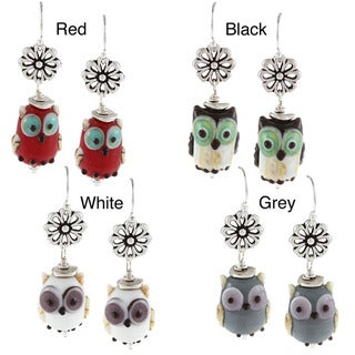 Charming Life Sterling Silver Owl Lampwork Glass Bead Earrings