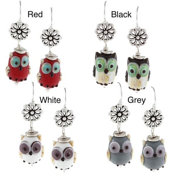 Charming Life Sterling Silver Owl Lampwork Earrings