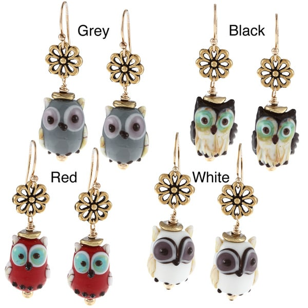 Lola's Jewelry 14k Goldfill Owl Lampwork Glass Bead Hook Earrings 9287803