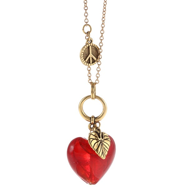 Charming Life Goldtone Red Glass Apple Heart Necklace