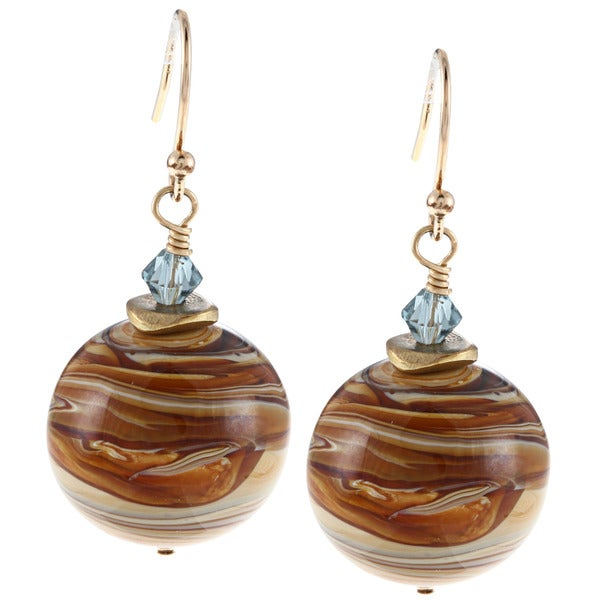 Charming Life 14k Goldfill Saturn Glass and Crystal Earrings