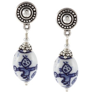 Charming Life Pewter Hand-painted Chinese Porcelain Earrings