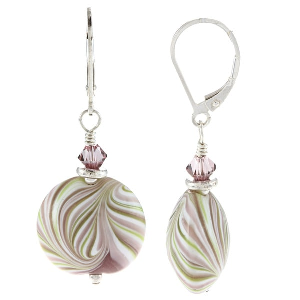 Lola's Jewelry Sterling Silver Mint Swirl Ceramic and Crystal Earrings 9287822