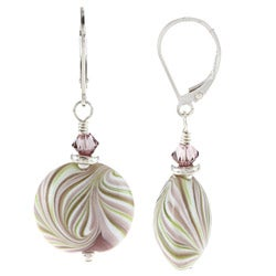 Charming Life Sterling Silver Mint Swirl Ceramic and Crystal Earrings