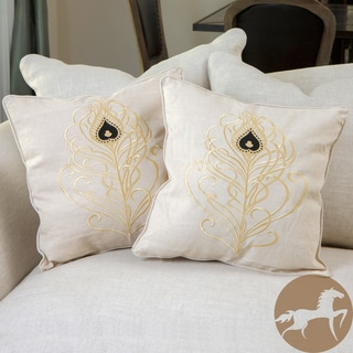 Christopher Knight Home Light Brown Embroidered Pillows (Set of 2)