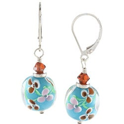 Charming Life Sterling Silver Summer Flower Design Glass and Crystal Earrings