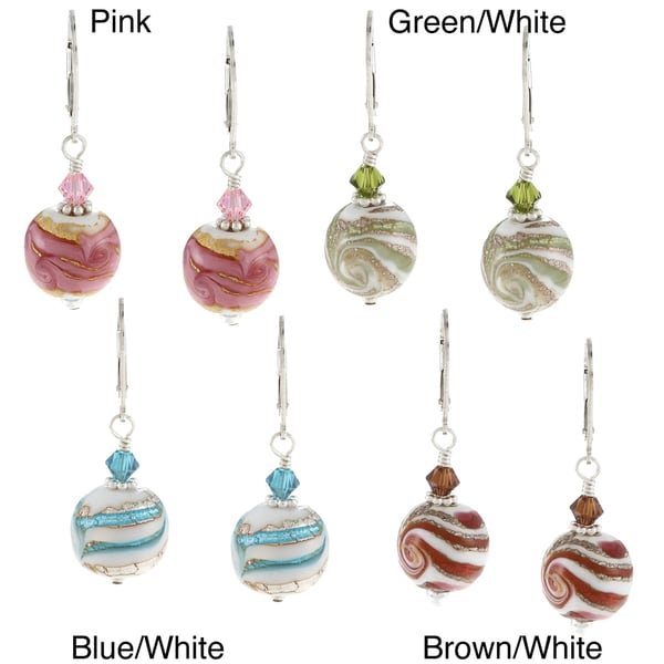 Lola's Jewelry Sterling Silver Swirl Ceramic and Crystal Earrings 9287858
