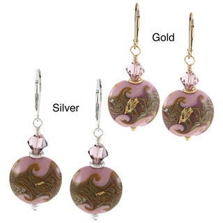 Charming Life Pink Ceramic and Crystal Earrings