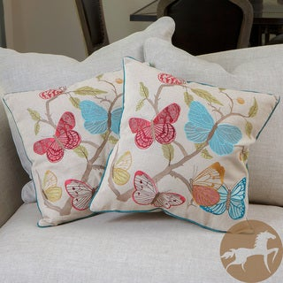Butterfly Flowers Pillows (Set of 2)