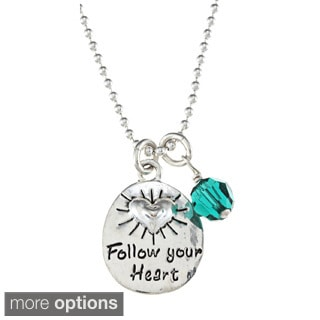 Charming Life Sterling Silver Crystal Birthstone 'Follow Your Heart' Necklace