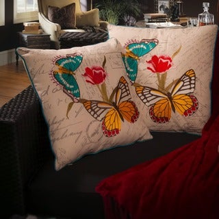 Christopher Knight Home Embroidered Butterfly Pillows (Set of 2)