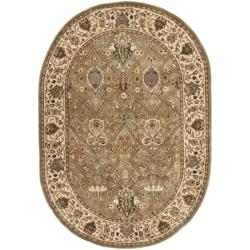 Handmade Persian Legend Light Green/ Beige Wool Rug (4'6 x 6'6 Oval)