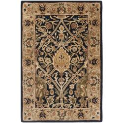 Handmade Persian Legend Blue/ Gold Wool Rug (2' x 3')
