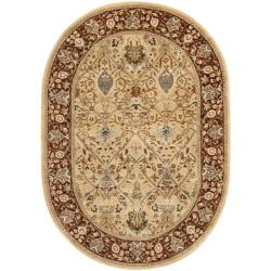 Handmade Persian Legend Ivory/ Rust Wool Rug (4'6 x 6'6 Oval)