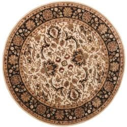 Handmade Persian Legend Ivory/ Black Wool Rug (3'6 Round)
