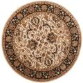 Handmade Persian Legend Ivory/ Black Wool Rug (6' Round)