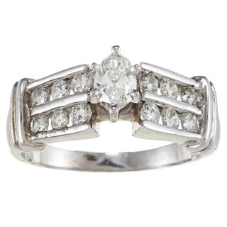 14k White Gold 1ct TDW Marquise Diamond Engagement Ring (H-I, SI1-SI2)