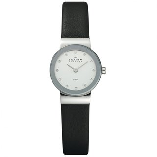 Skagen Women's Element Black Leather Strap Watch