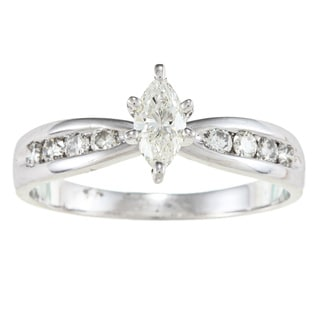 14k White Gold 1/2ct TDW Marquise Diamond Engagement Ring (H-I, SI1)