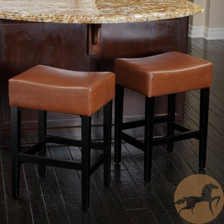 Christopher Knight Home Lopez Backless Hazlenut Leather Counterstools (Set of 2)