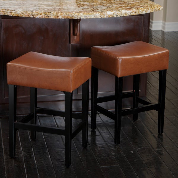 christopher knight home lopez backless hazelnut leather counterstools set of 2 14369762. Black Bedroom Furniture Sets. Home Design Ideas
