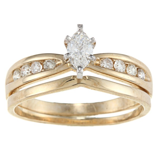 14k Yellow Gold 1/2ct TDW Marquise Diamond Bridal Ring Set (H-I, SI1-SI2)
