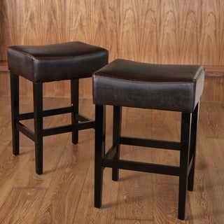 Christopher Knight Home Lopez Backless Brown Leather Counterstools (Set of 2)