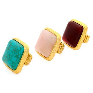Nexte Jewelry Goldtone Square Gemstone Stretch Ring