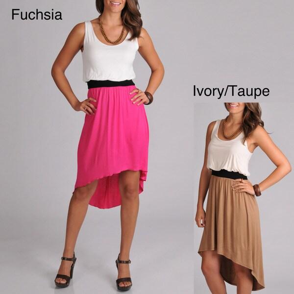 Tiana B. Women's Color Elastic Waistband High-low Hem Dress