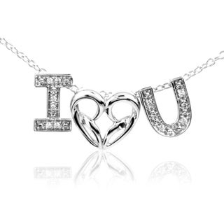 Bridal Symphony Sterling Silver Diamond Accent 'I Love You' Word Necklace