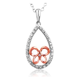 10K Gold 1/6ct TDW Diamond Teardrop Butterfly Necklace (I2-I3, IJ)