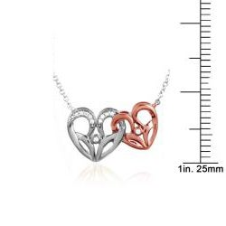 Bridal Symphony 10K Rose and White Gold Diamond Accent Heart Necklace
