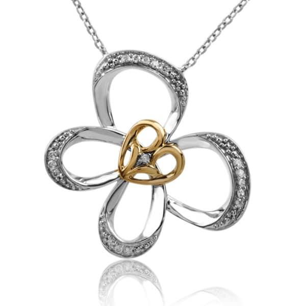 Bridal Symphony 10k Gold/Silver 1/10ct TDW Diamond Butterfly Necklace