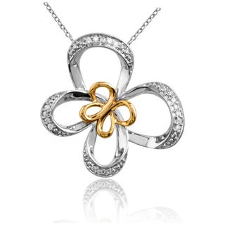 10K Gold and Silver 1/10ct TDW Diamond Butterfly Necklace (I2-I3, IJ)
