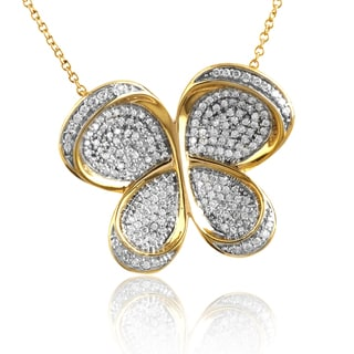 10K Gold 3/4ct TDW Pave Diamond Butterfly Necklace