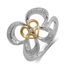 10K Gold/Silver 1/10ct TDW Diamond Butterfly Ring