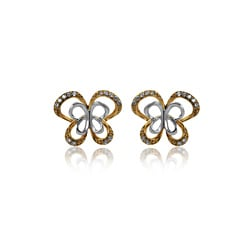 10K Gold 1/10ct TDW Diamond Butterfly Stud Earrings (I2-I3, IJ)